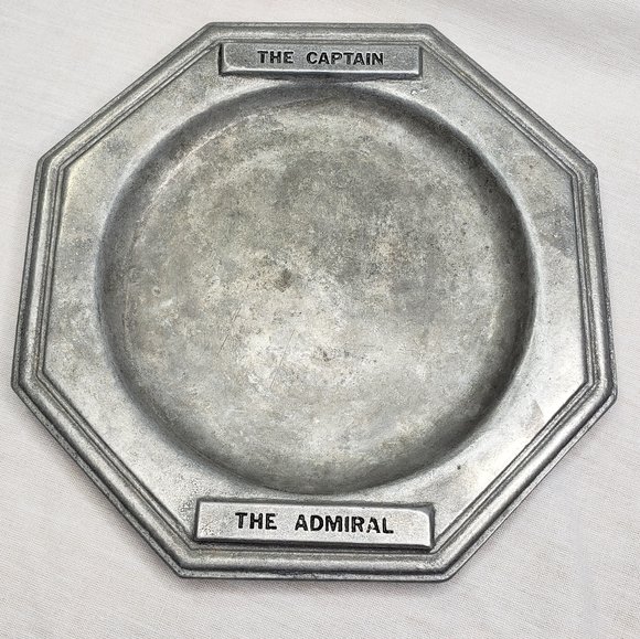 Sea Shanty Pewter Tray Admiral Captain Vintage